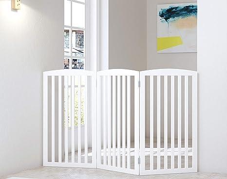 Puerta plegable para mascotas de madera para perros, 3 paneles, 36 pulgadas de alto, puerta para perro, para casa, puerta, escaleras, extra ancha y alta, color blanco: Amazon.es: Bebé