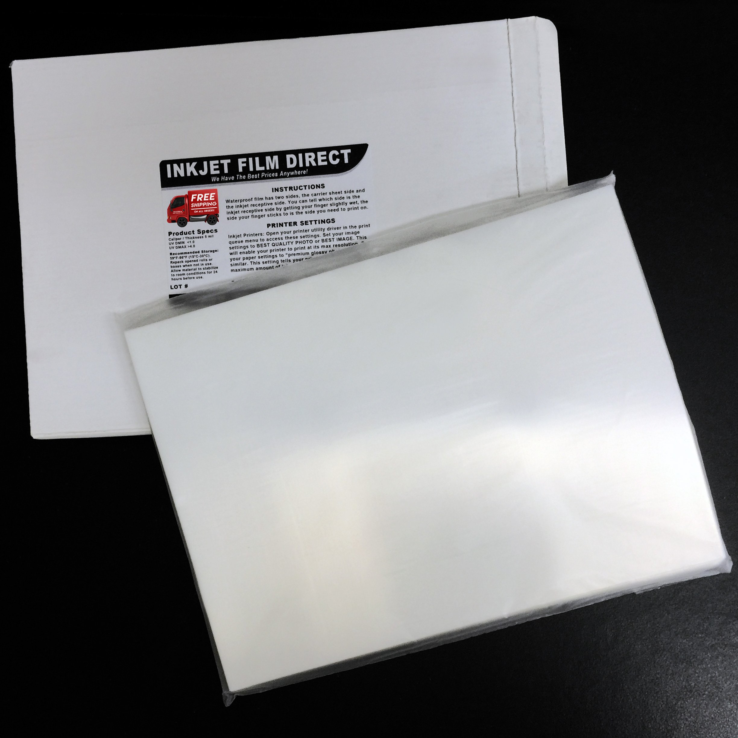 5 MIL - Waterproof Screen Printing Inkjet Film Transparency - Cut Sheets (11'' x 17'' - 100 Sheets)
