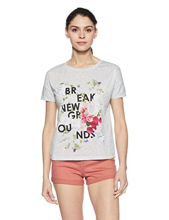 8d4783cc584523 Honey by Pantaloons Women's Plain Regular Fit T-Shirt (110024518001_Off  White_S)