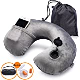 JCFamily Inflatable Travel Neck Pillow for Airplanes with Packsack - 3 Seconds Inflate Full (Grey)