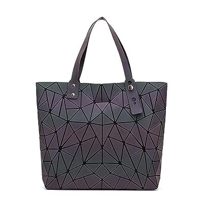 2bb16d0cdfcba FZChenrry Geometrische Leuchtende Geldbörse und Handtaschen für Damen  Holographische Umhängetasche Top-Griff mit Reißverschluss Schließung