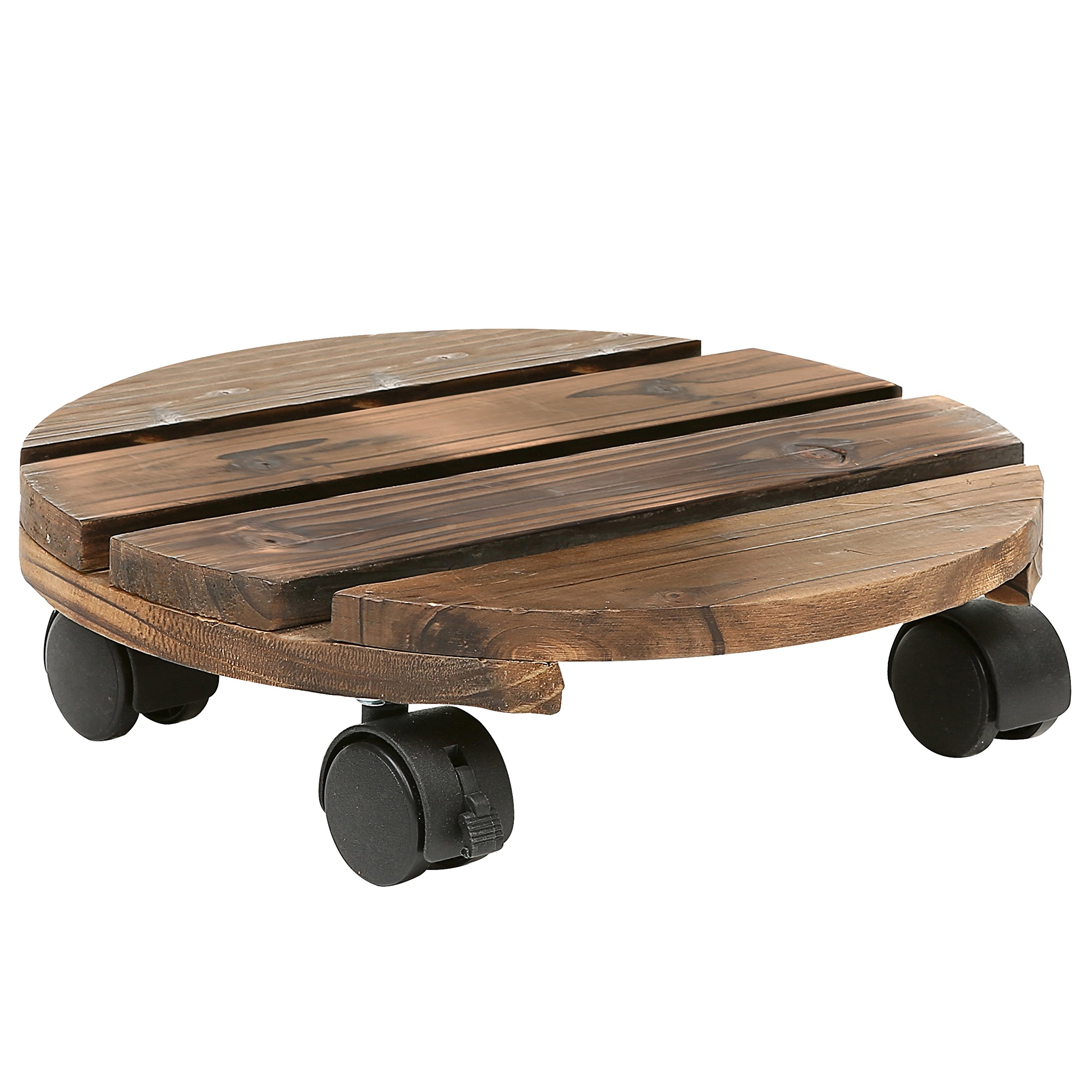 12 Inch Torched Wood Planter Caddy, Rustic Rolling Plants Dolly with Rotating Casters by MyGift