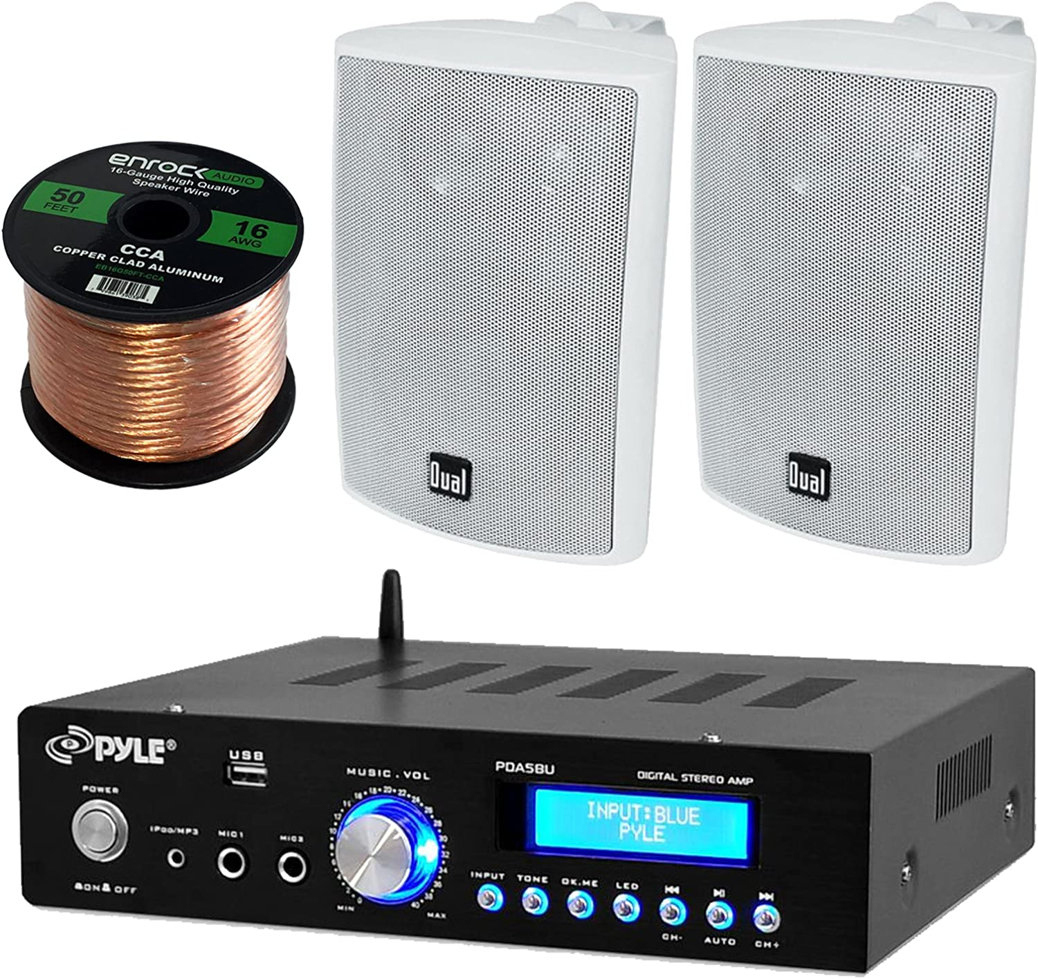 Aux input LCD Display Pyle PDA5BU Amplifier Receiver Stereo USB Flash Reader 200 Watt With Dual LU43PB Indoor//Outdoor Speakers Bundle With Enrock 50ft 16g Speaker Wire Pyle Enrock Dual PDA5BU 16G50FT LU43PB AM//FM Radio Bluetooth