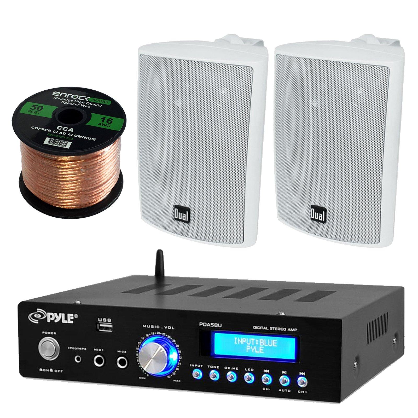 Pyle PDA5BU Amplifier Receiver Stereo, Bluetooth, AM/FM Radio, USB Flash Reader, Aux input (3.5mm) LCD Display, 200 Watt - Bundle With Enrock 50ft 16g Speaker Wire