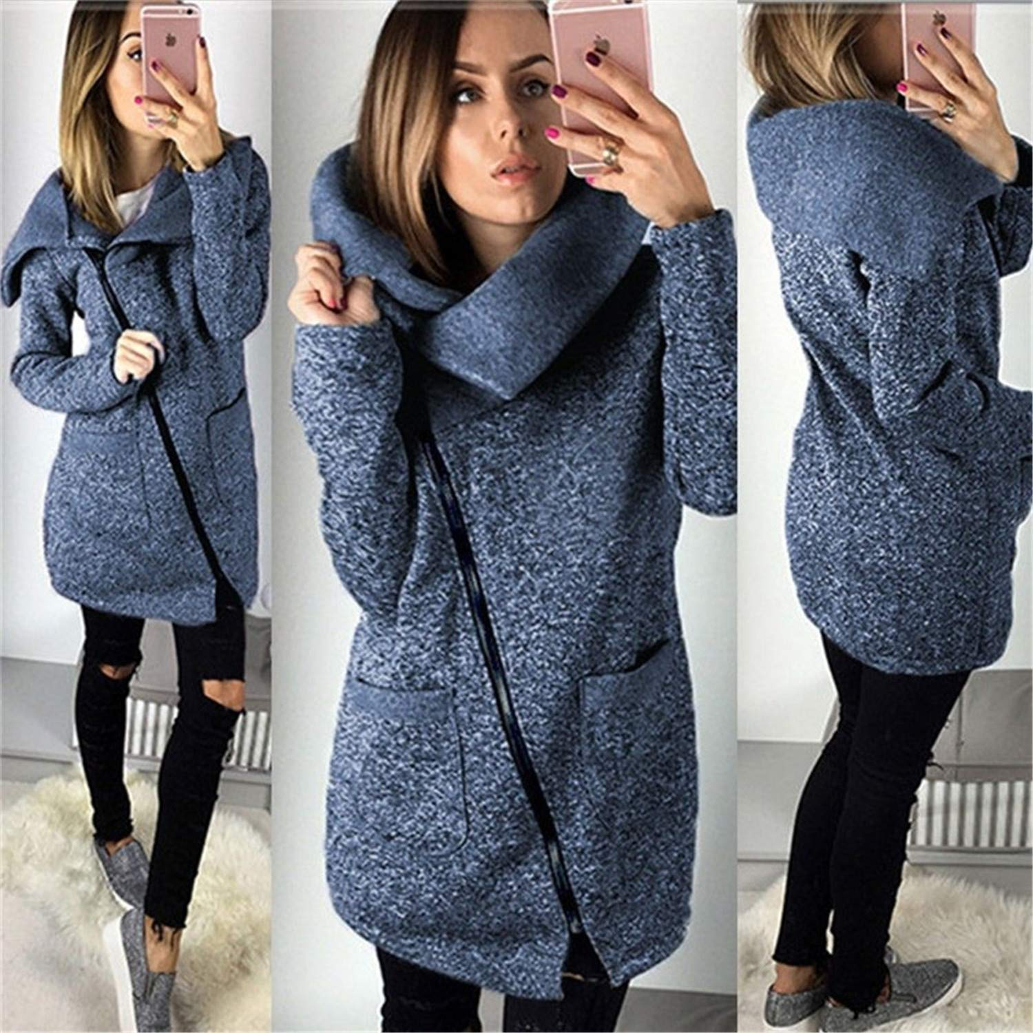 Amazon.com: Nhequren 2018 Women Spring Winter Fleece Sweatshirt Hoodie Long Zipper Hoodies Jacket Coat Outwear Plus Size 5XL Sudaderas para Mujer Blue XXXL: ...