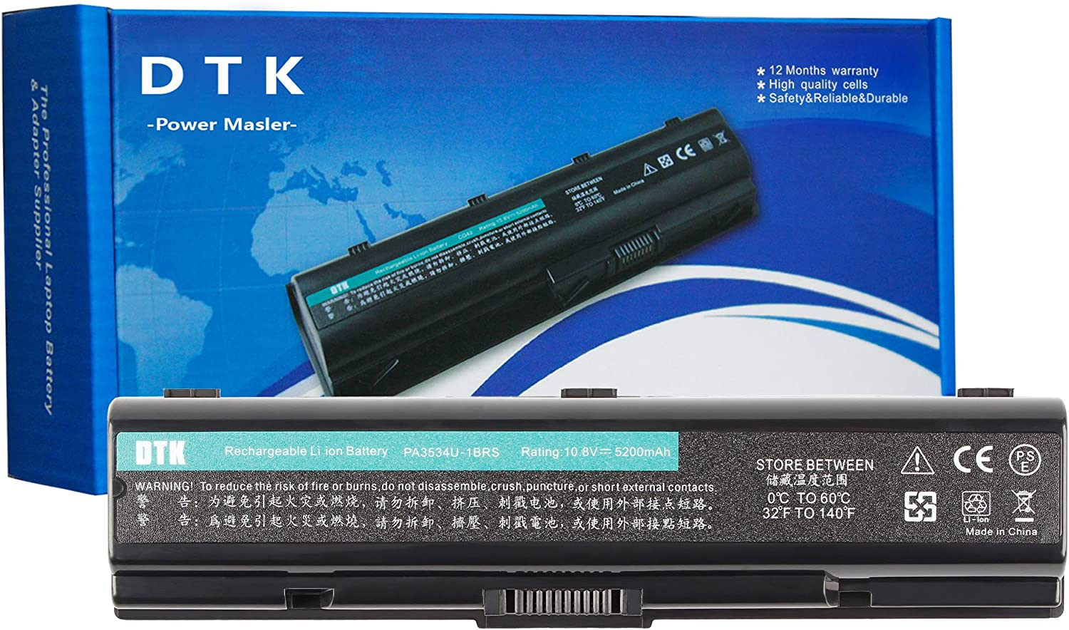 Dtk Laptop Battery for Toshiba Pa3534u-1brs Pa3533u-1brs Pa3535-1bas Satellite A200 A205 A210 A215 A300 A305 A350 A355 A500 A505 L200 L201 L202 L203 L205 Satellite Pro P300 Notebook Battery