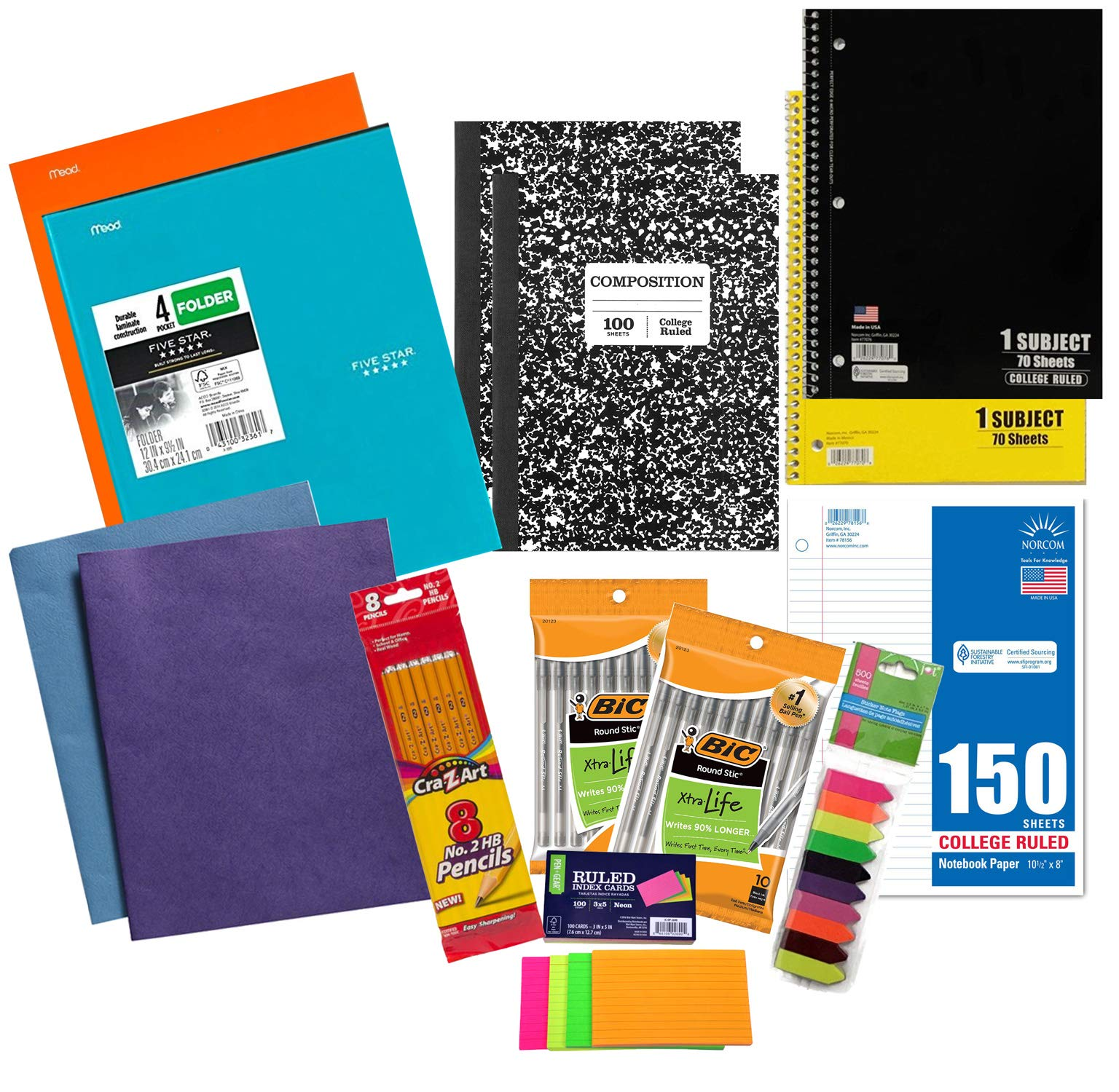 14 Piece School Supplies Middle to College Student Quick-Start Bundle Kit