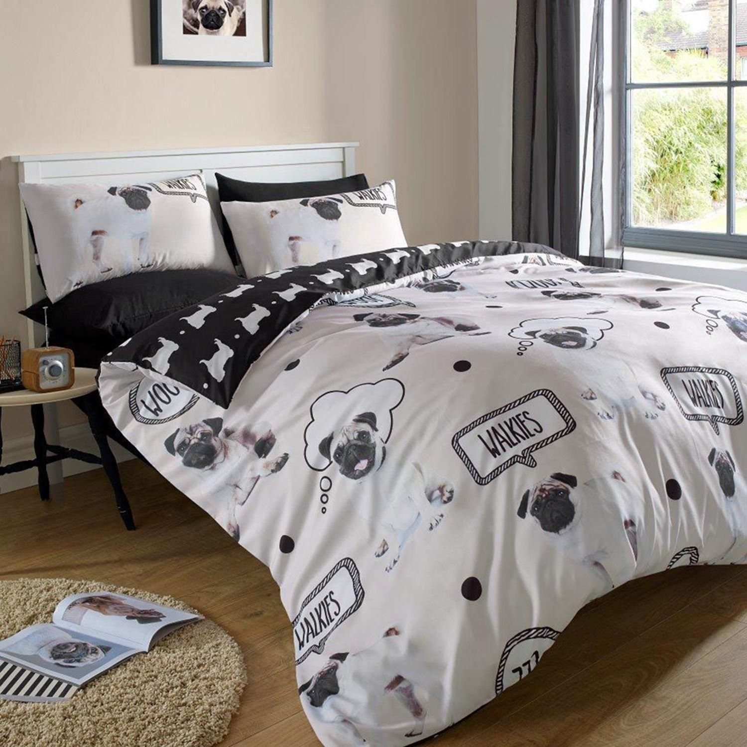 Pug Walkies Double Duvet Cover and Pillowcase Set Pin Mill Textiles Ltd