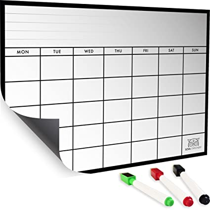 Monthly Magnetic Calendar : A Refrigerator Whiteboard Planner With 3  Markers   Kitchen Fridge Organizer,