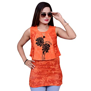 b11eaadb61 JyotiCollection Women s Girls s Casual Sleeveless Printed Western Wear Tops  for Women Girls  Amazon.in  Clothing   Accessories