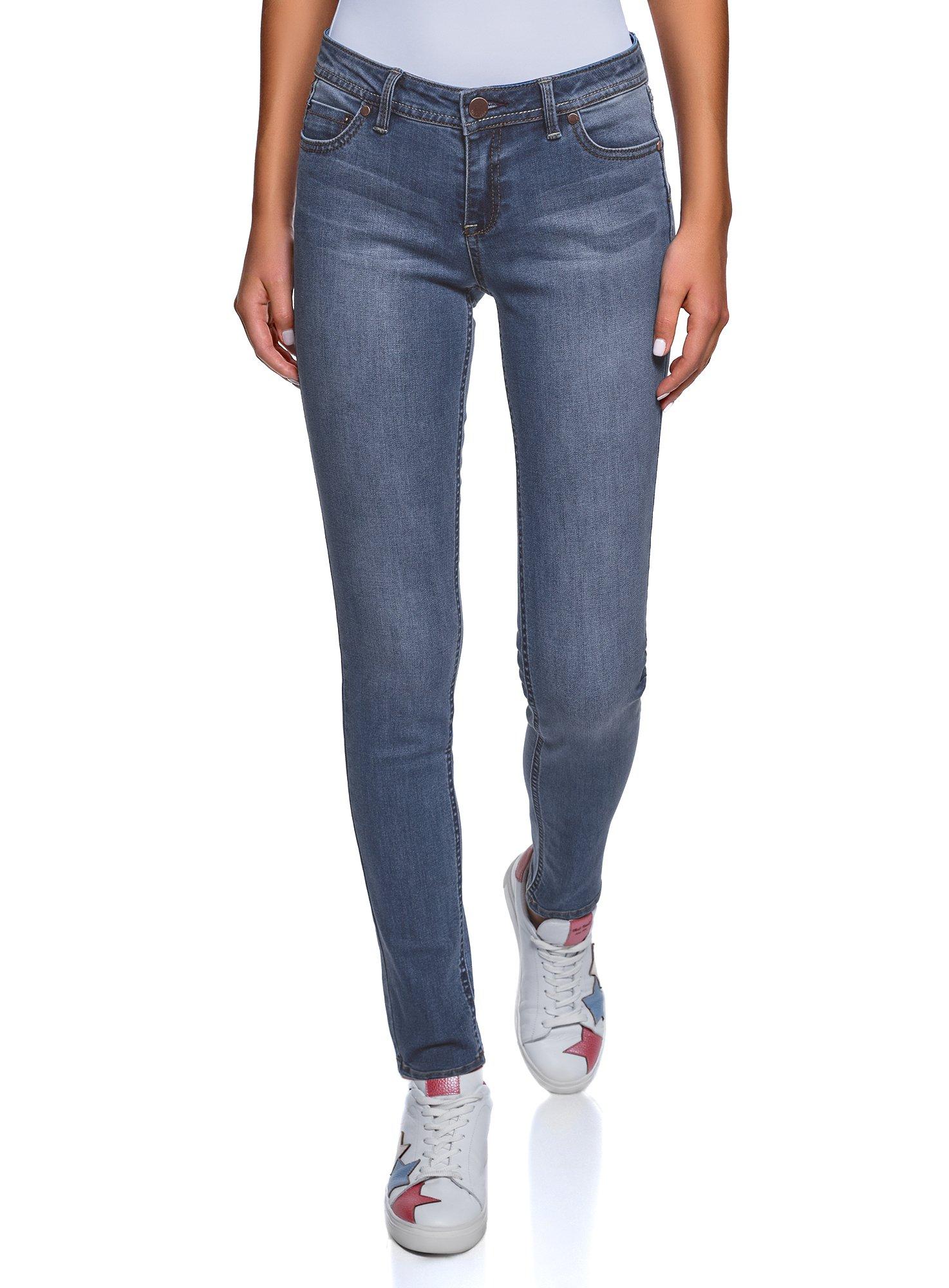 oodji Ultra Women's Skinny Push-Up Jeans, Blue, 29W / 32L (US 8 / EU 42 / L)
