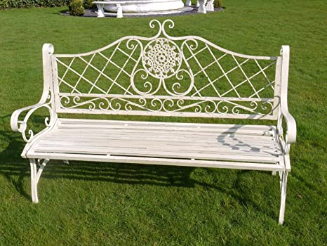 Stupendous French Country Metal Garden Bench Shabby Chic Ornate Long Pabps2019 Chair Design Images Pabps2019Com