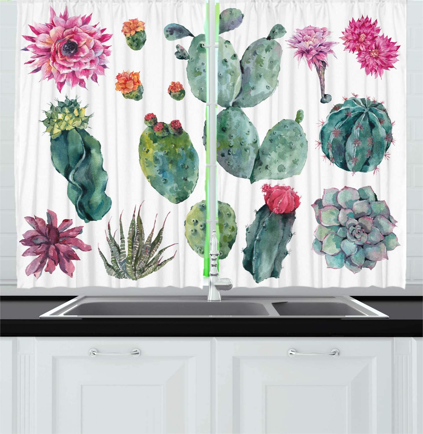 Ambesonne Nature Kitchen Curtains, Desert Botanical Herbal Cartoon Style Cactus Plant Flower with Spikes Print, Window Drapes 2 Panel Set for Kitchen Cafe Decor, 55
