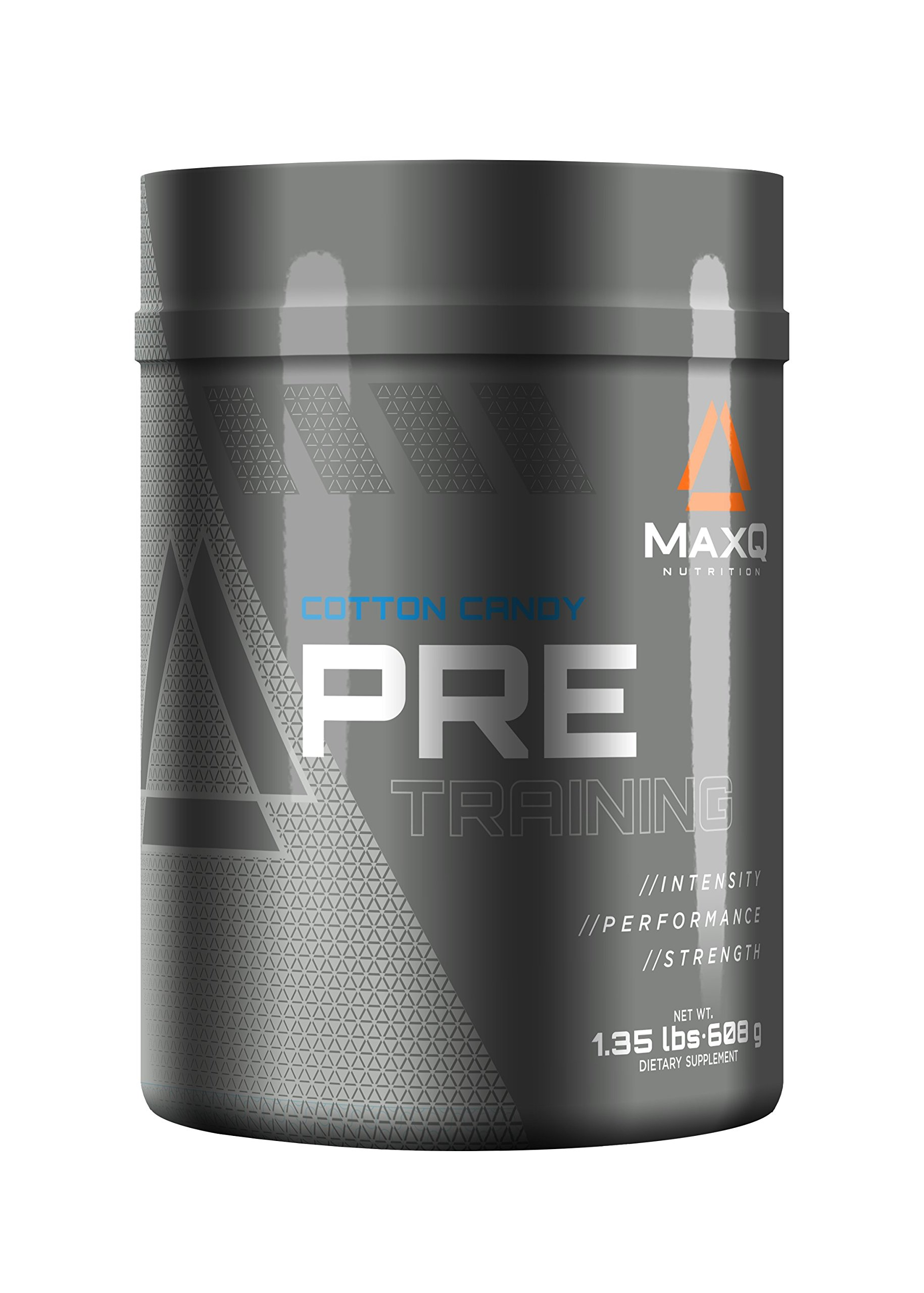 MaxQ Nutrition PRE-Training pre workout powder, energy drink supplement w/ Creatine, BCAAs, Beta Alanine, Arginine, Tyrosine and more. Cotton Candy, 20 servings.