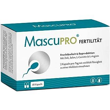 MascuPRO Fertilität Mann - Fruchtbarkeit - Spermienproduktion - 60 Kapseln Tabletten - L- Carnitin, L- Arginin - Vitamine Man