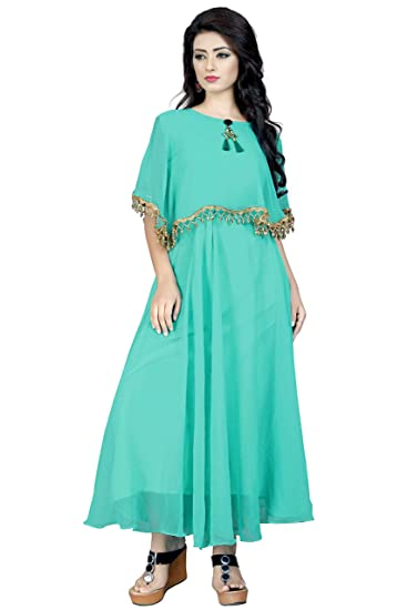Aryan Enterprise Turquoise Womans Poncho Dress Amazonin Clothing