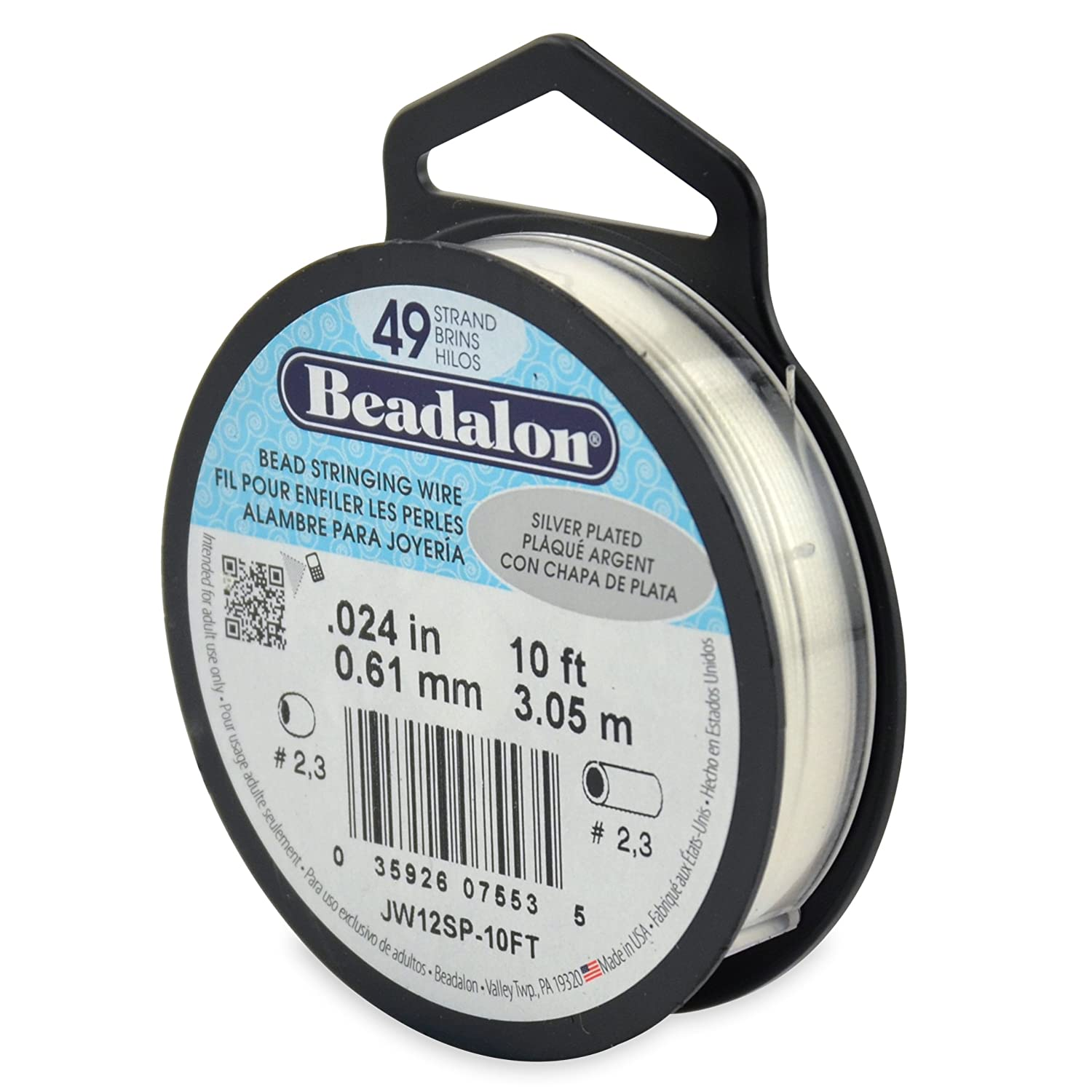 Amazon.com: Beadalon Stringing Wire 49-Strand .024-Inch (.61 ...