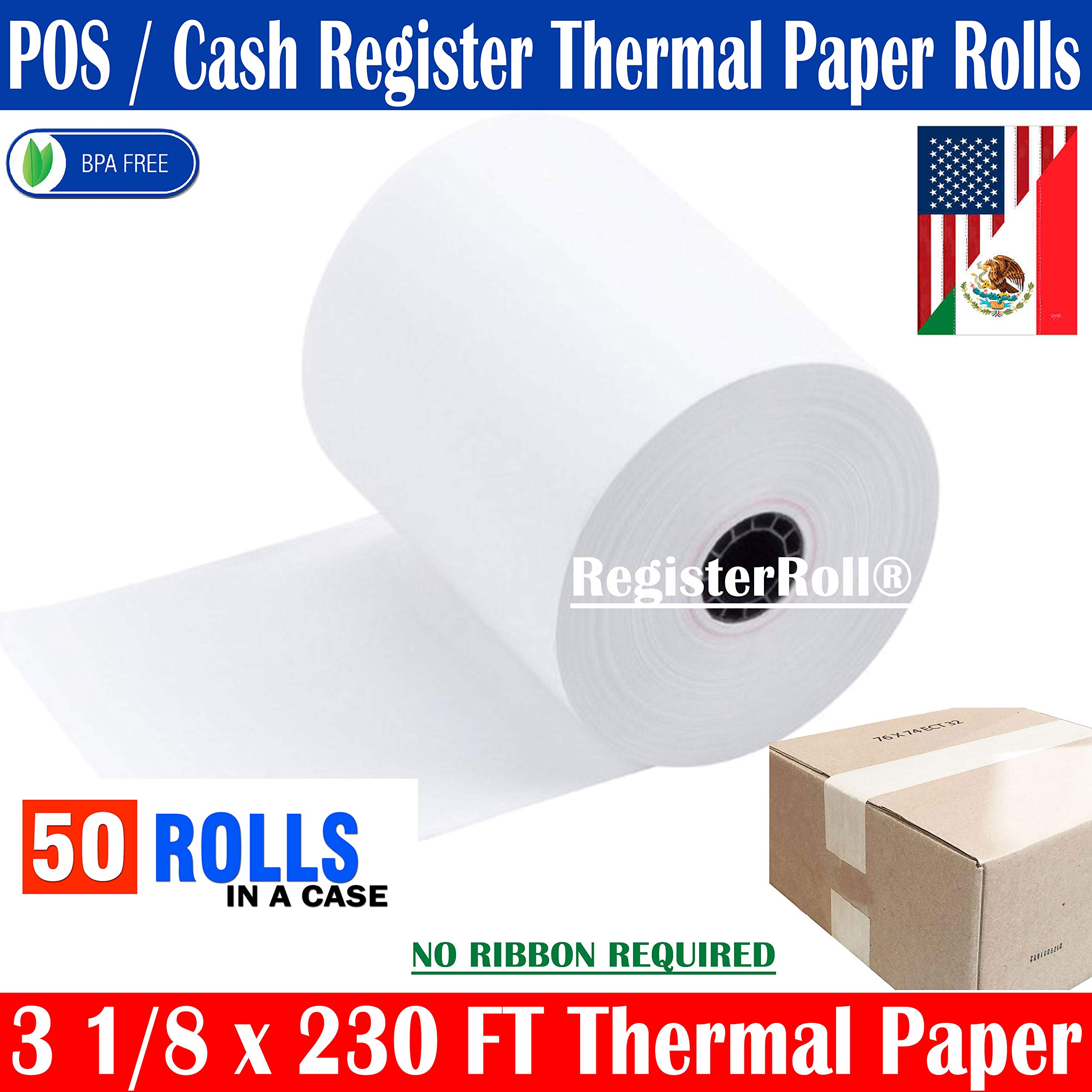 Thermal Receipt Paper, 3-1/8'' x 230', White, 50 Rolls/Pk | NCR 856348 BPA Free - Made in USA | from RegisterRoll by ✅ REGISTERROLL