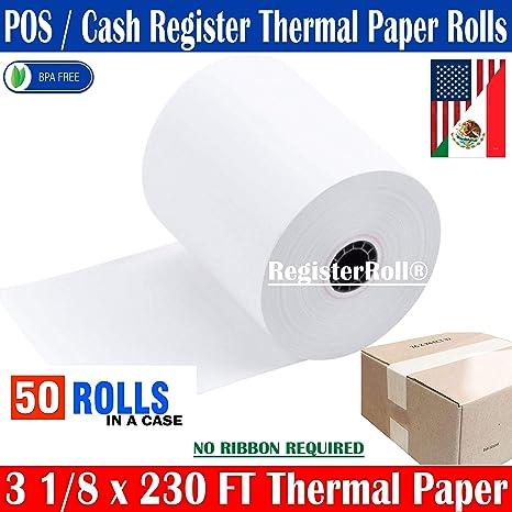 2-1//4 x 230 1-Ply Thermal Paper 50 Rolls BPA Free Cash Register Tape