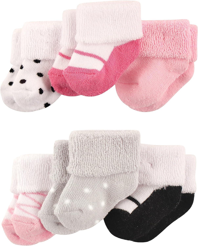 Luvable Friends Newborn Baby Terry Socks, 6 Pack