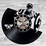 Captain America Vinyl Wall Clock Art Gift Room Modern Home Record Vintage Decoration