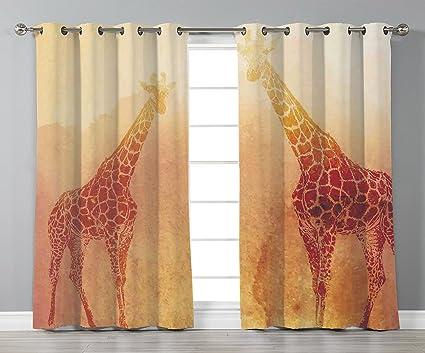 Amazon.com: Satin Grommet Window Curtains,Safari Decor,Illustration ...