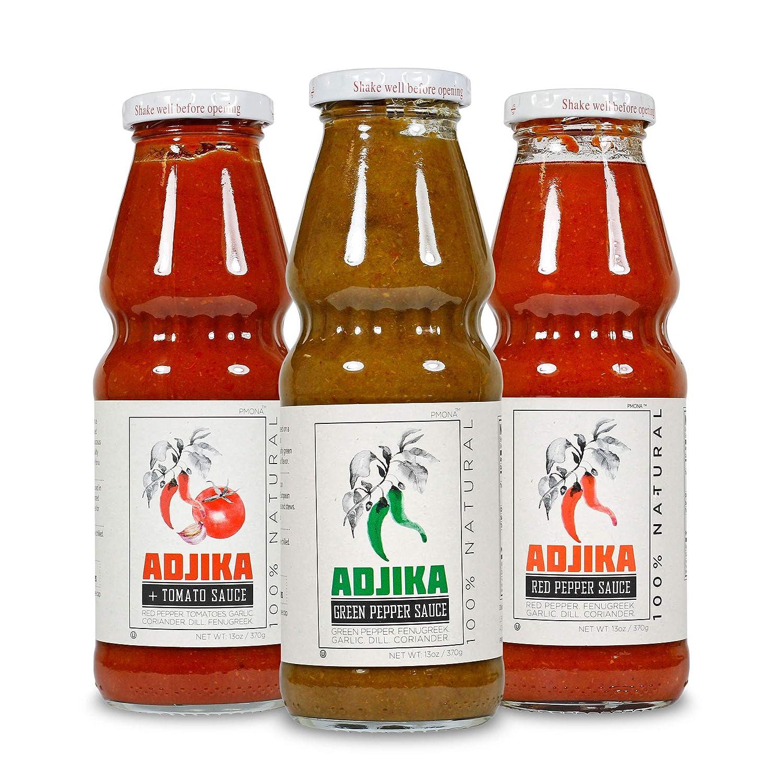POMONA Adjika Gourmet Hot Sauce Variety Pack, 13 fl. oz. Glass Bottles (Pack of 3)   Three Flavors: Adjika + Tomato, Adjika Green Pepper, Adjika Red Pepper   Georgian Cuisine Pepper Sauce, Bold Flavor