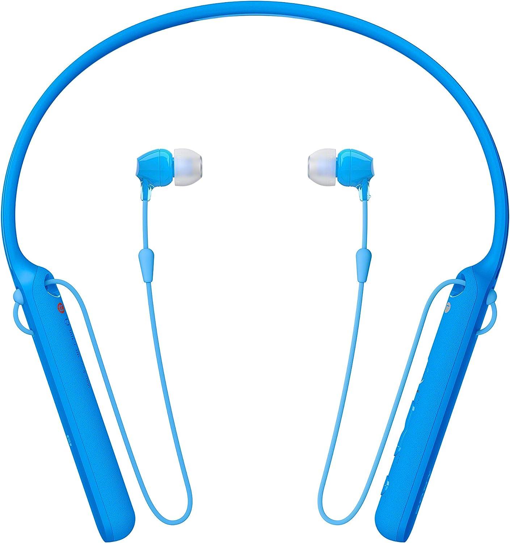 Sony WIC400 - Auriculares Neckband inalámbricos (Cable retráctil, Bluetooth, vibración Llamadas, NFC, 20 Horas de autonomía) Azul