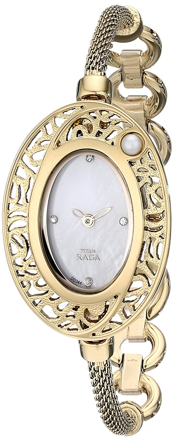 Amazon.com: Titan Womens 9973YM02 Raga Pearl Analog Display Quartz Gold Watch: Watches