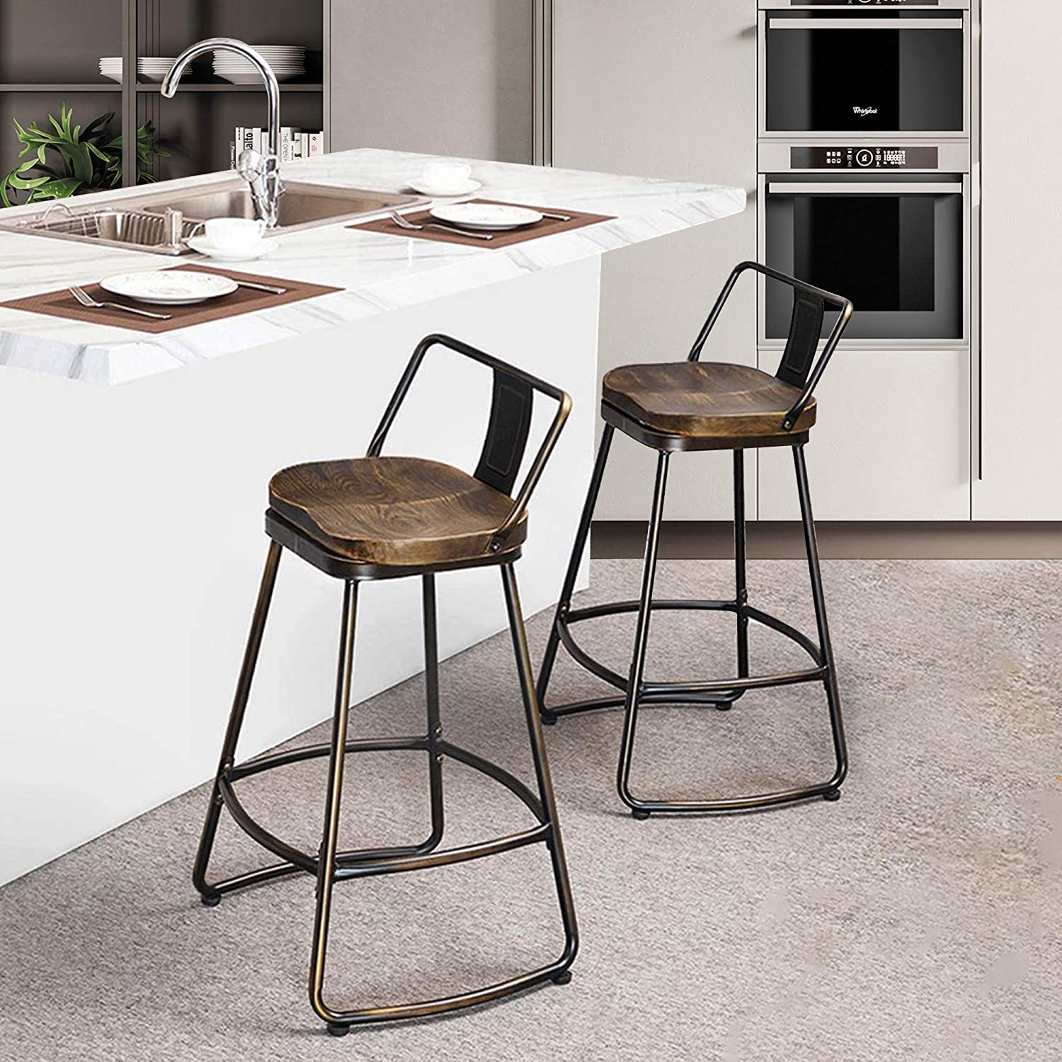Amazon Com Alunaune 26 Swivel Metal Bar Stools Set Of 2 With Low Back Counter Height Barstools Kitchen Counter Stool With Wooden Seat Distressed Bronze Kitchen Dining