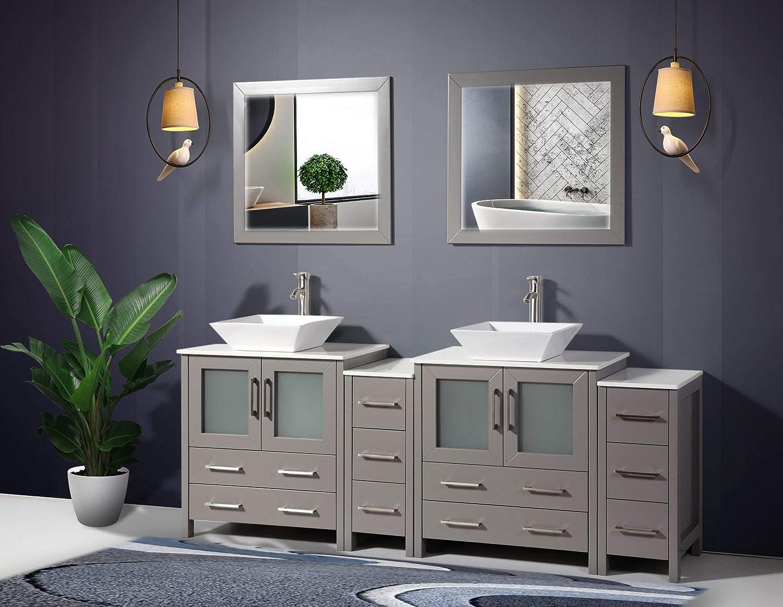 Amazon Com Vanity Art 84 Inch Double Sink Bathroom Vanity Set 2 Shelves 10 Drawers Quartz Top And Ceramic Vessel Sink Bathroom Cabinet With Free Mirrors Va3130 84 G Kitchen Dining