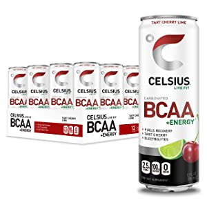 CELSIUS BCAA +Energy Sparkling Post-Workout Recovery & Hydration Drink, Tart Cherry Lime, 12oz. Slim Can (Pack of 12)