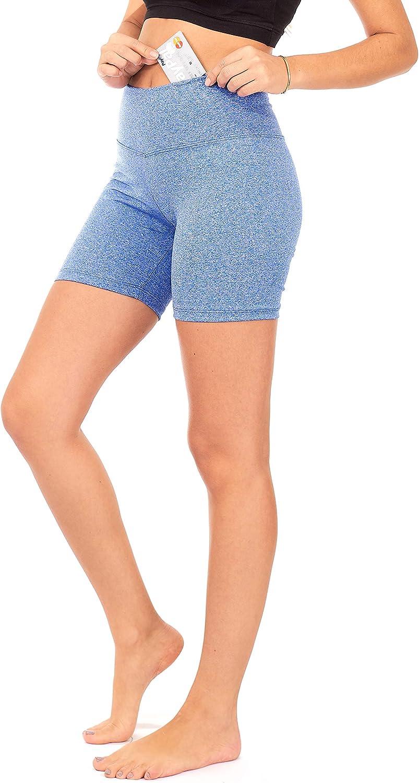 DEAR SPARKLE Yoga Shorts Running Short for Women High Waist Workout 5 Inch Bike Shorts with Pockets S14
