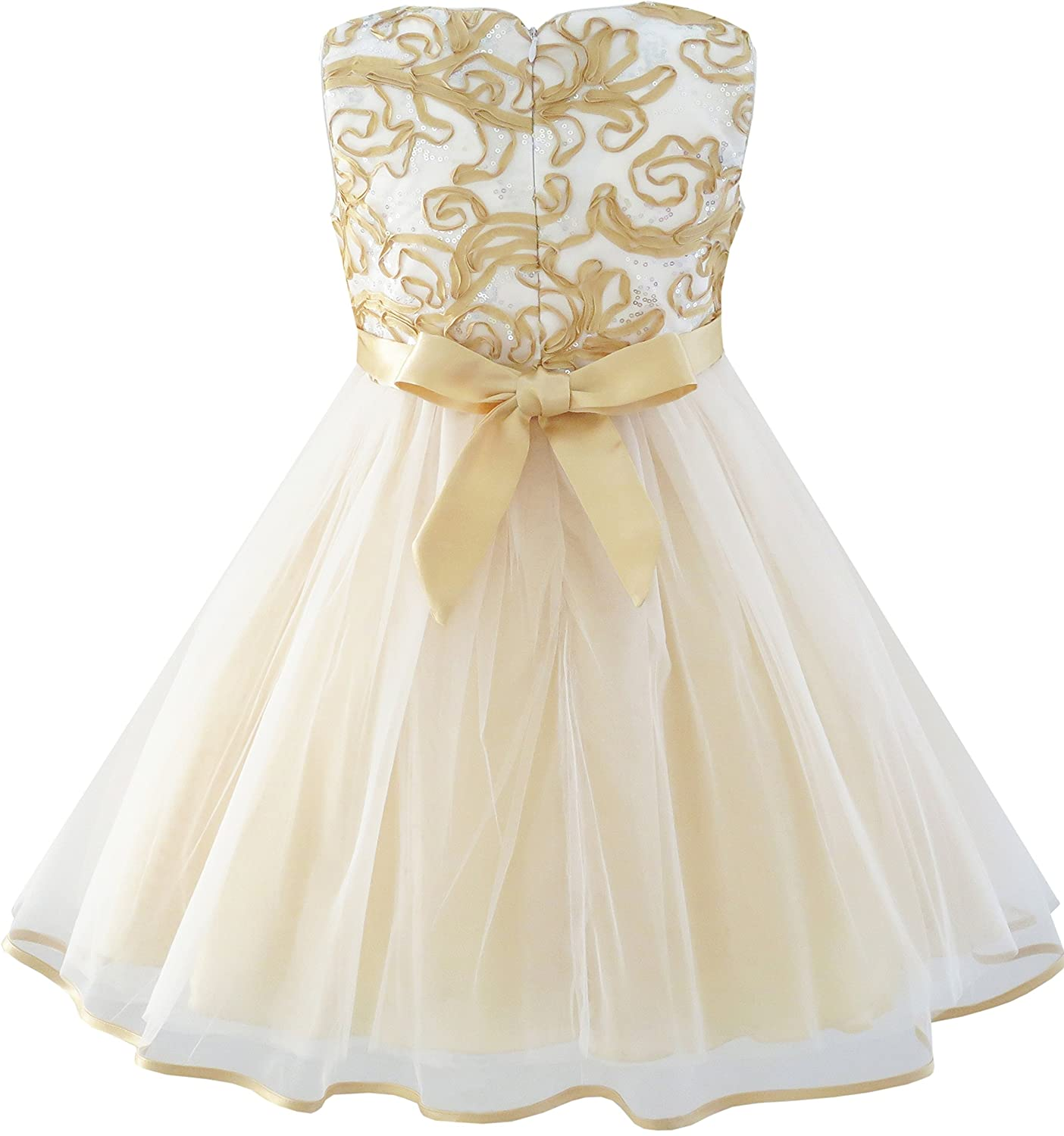 Amazon.com: Sunny Fashion Girls Dress Champagne Multi-layers Wedding Pageant: Special Occasion Dresses: Clothing