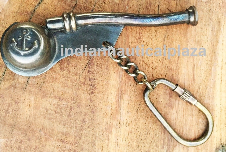 Humaira Nautical Brass NEW 3'' Copper Boatswain Whistle Chain Bosun's Call Pipe Maritime Nautical B