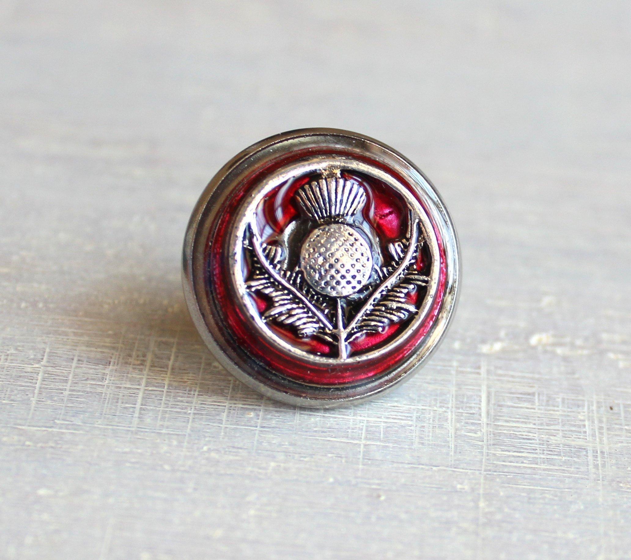 Red Scottish thistle tie tack / lapel pin.