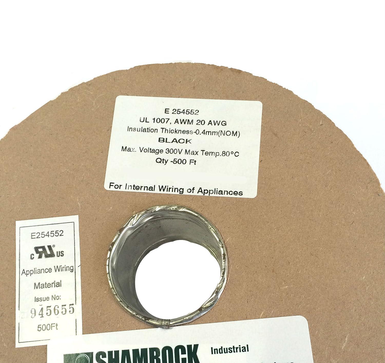 SHAMROCK CONTROLS UL1007-20AWG-BLACK-500 FT UL 1007 Stranded Copper Wire 500 Black RAL 9004 Color Code 20 AWG 300V