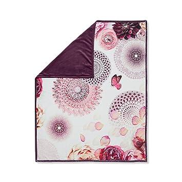 HIP Plaid imprime Jamuna - 130x160 cm - Gris perle et rouge bordeaux ...