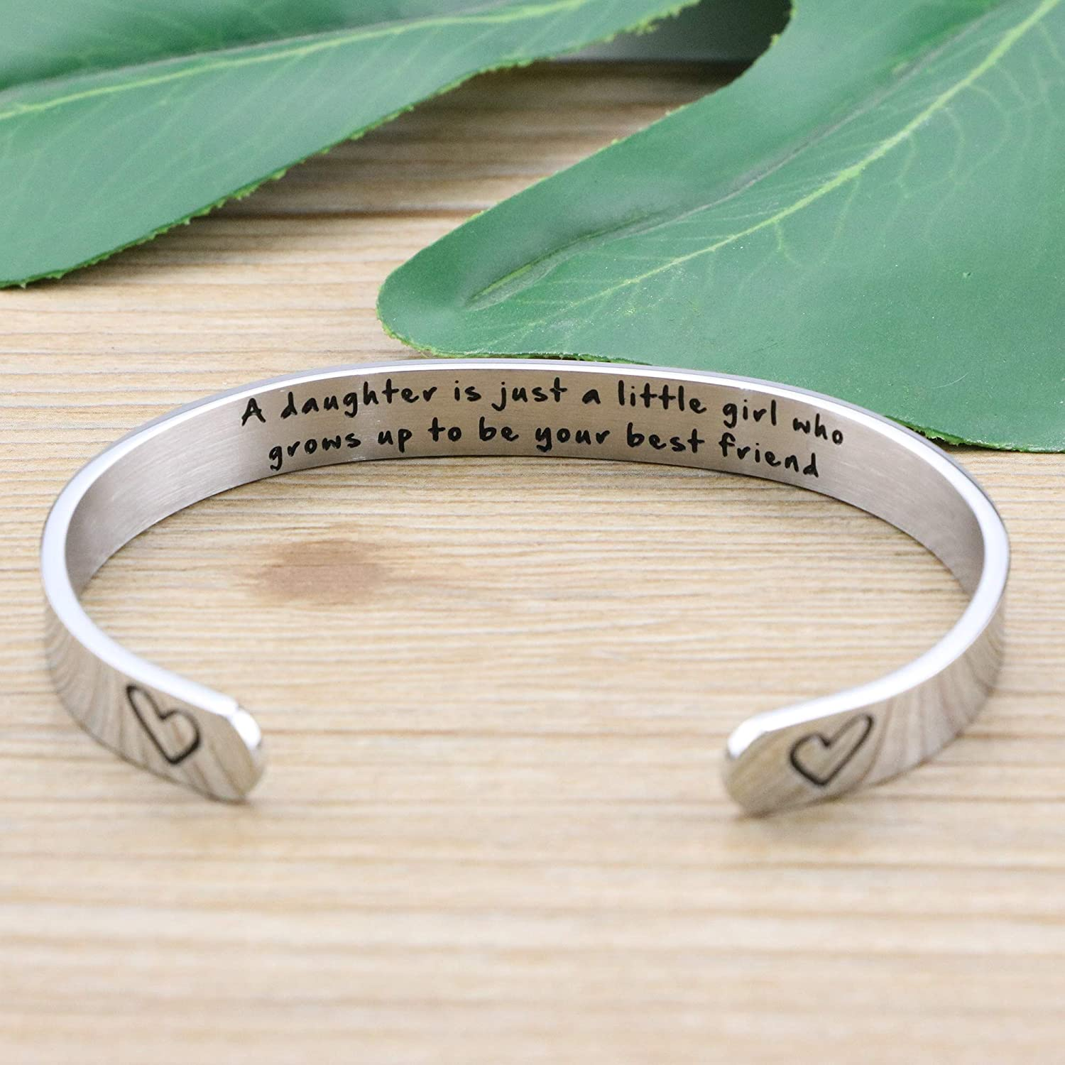 Mantra bracelet Daughter gift Mother/'s Day gift Engraved message cuff bracelet Mother and Daughter bracelet Leaving home Fresher gift