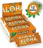 ALOHA Organic Plant Based Protein Bars |Peanut Butter Chocolate Chip | 12 Count, 1.9oz Bars | Vegan, Low Sugar, Gluten Free,