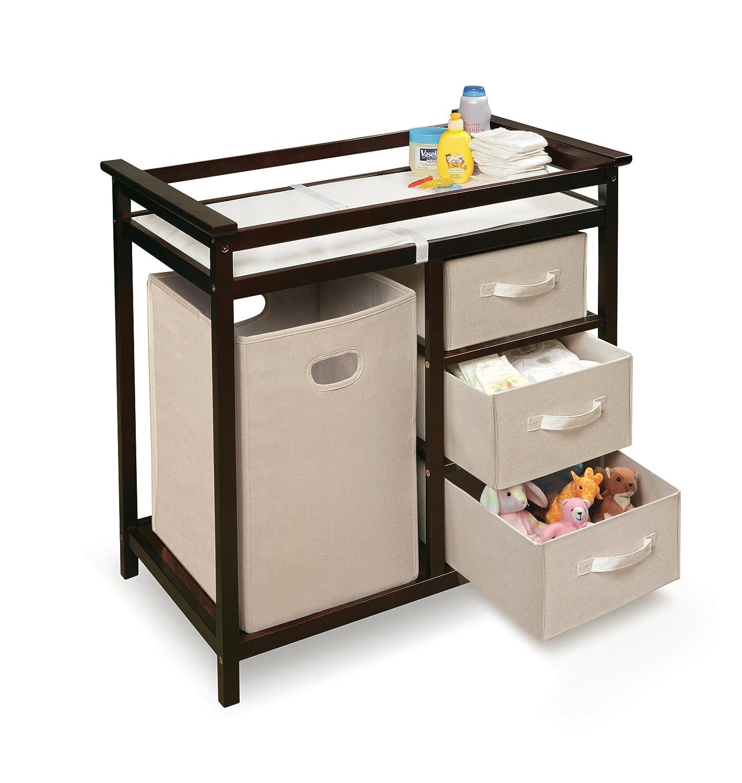 Amazon.com : Badger Basket Modern Changing Table With Hamper/3 Baskets,  Espresso : Baby