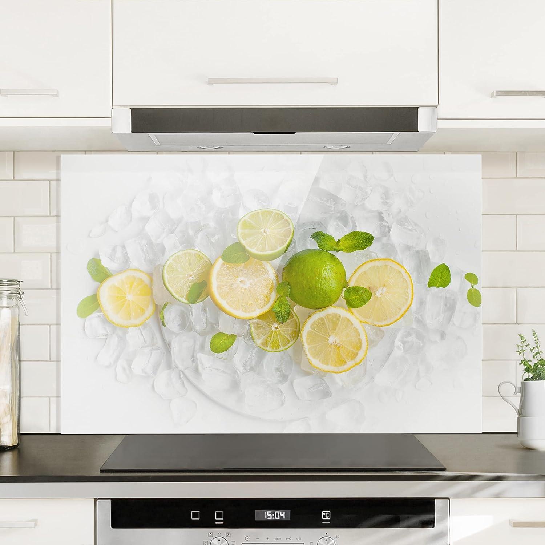 Zitrusfr/üchte auf Eisw/ürfel HxB: 59cm x 60cm Bilderwelten Spritzschutz Glas Quadrat 1:1