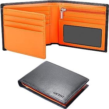 Portefeuille Homme Cuir Veritable avec Blocage RFID Porte-Monnaie  Noir Orange
