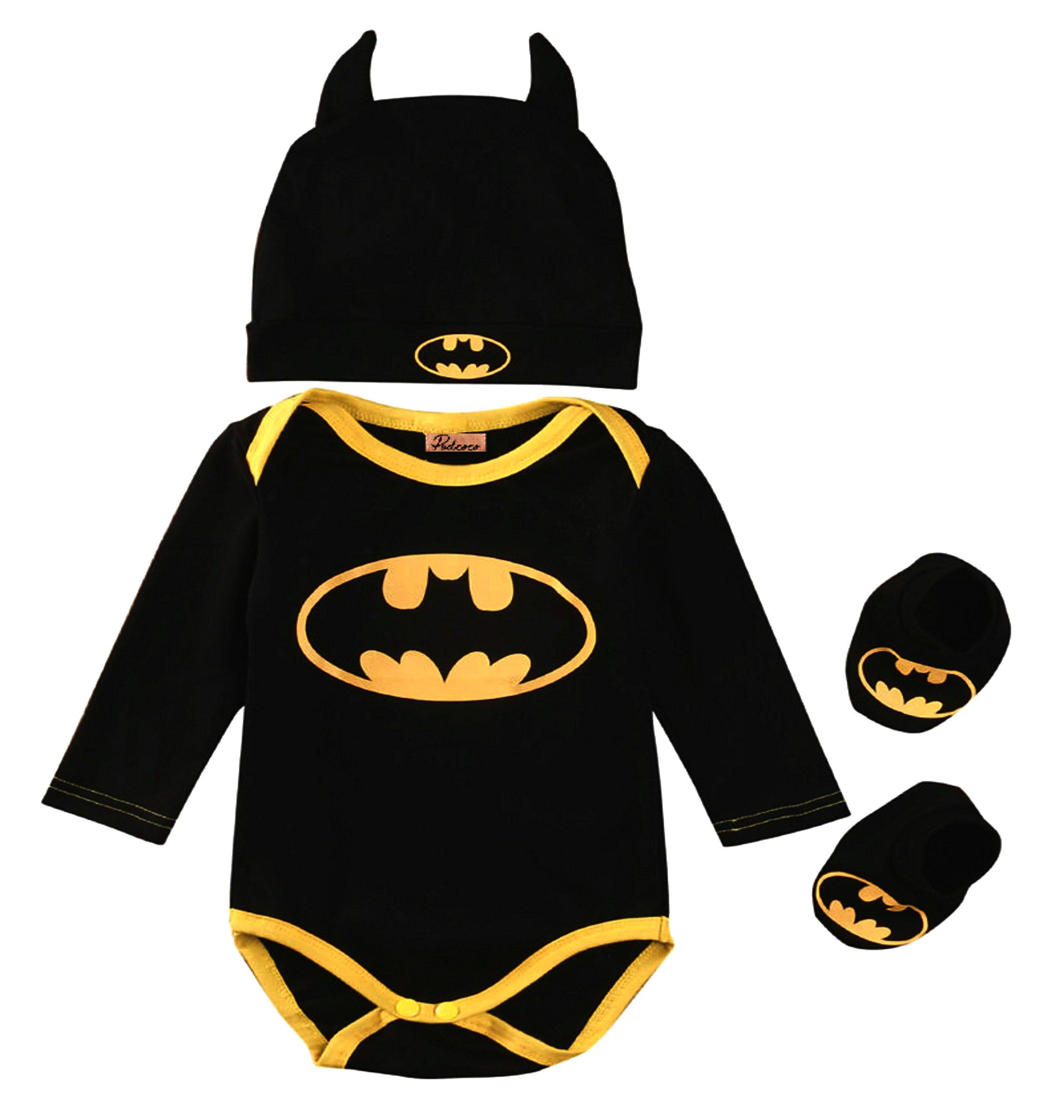 Baby Superhero Onesie: 3 Piece Outfits Set (0-6 Months, Batman Long Sleeves)