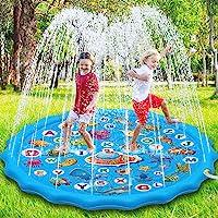 Paochocky Kids Splash Pad Sprinkler Play Mat, 68 inch Sprinkle Splash Water Pad Speelgoed Pool voor Alfabet Leren, Zomer…
