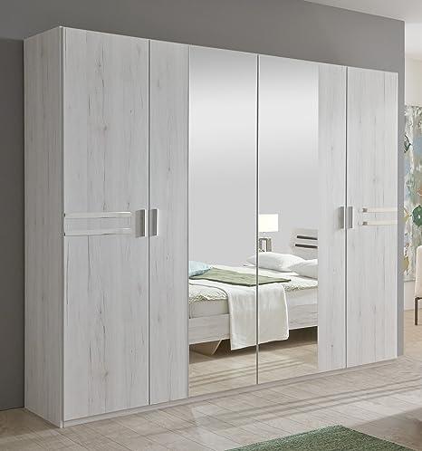 New Susan German White Oak Effect 4 Door Mirror Wardrobe Bedroom ...