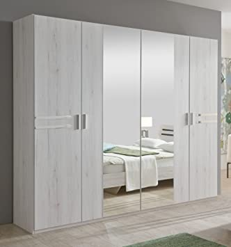 New Susan German White Oak Effect 4 Door Mirror Wardrobe Bedroom