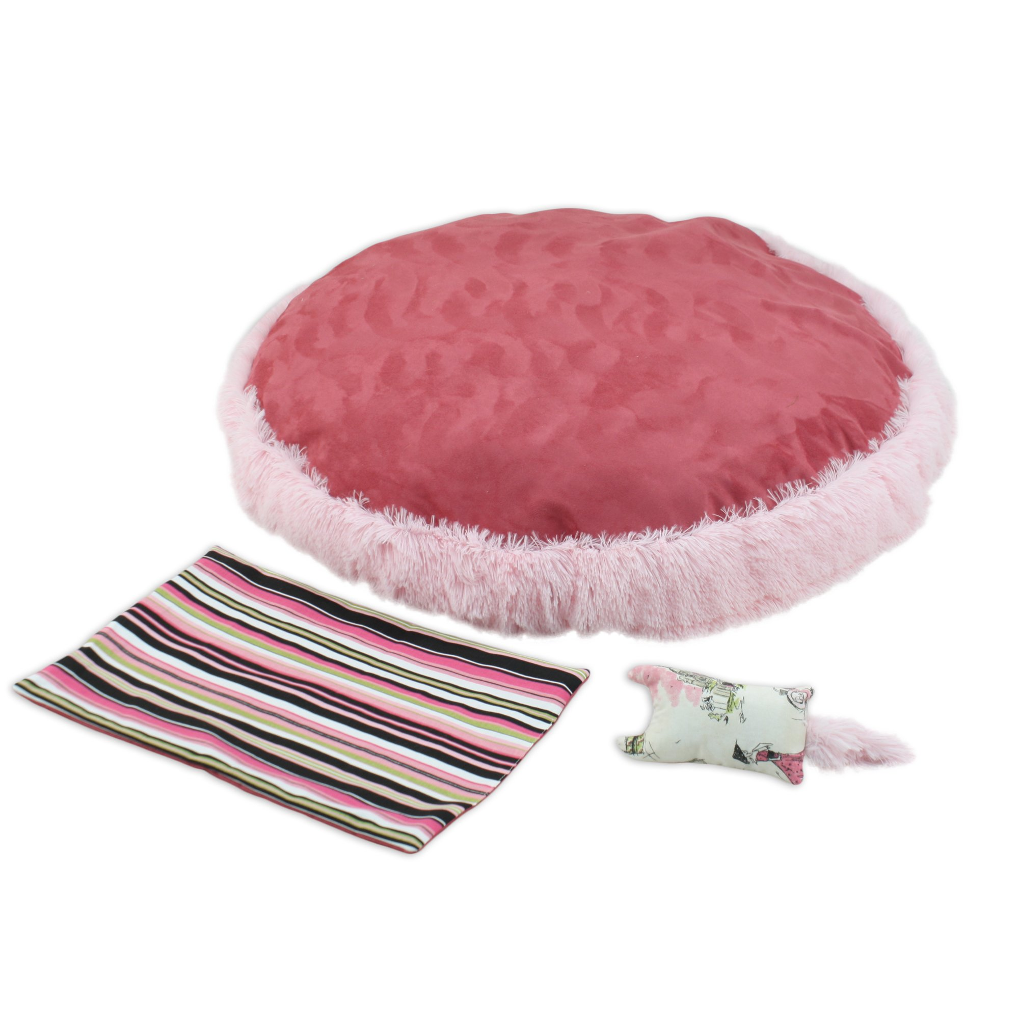 Brite Ideas Living Shaggy Pink-PS Dusty Rose 33-Inch Round Pet Bed with Versatile Cover and Rectangle Toy, Set of 3