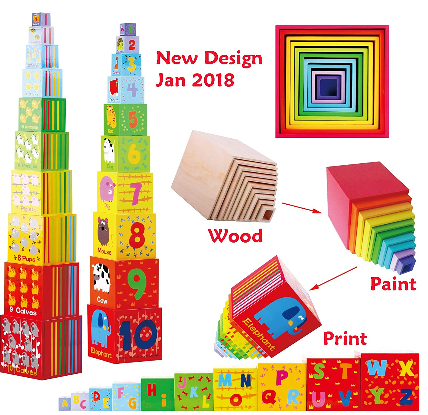 TOWO Wooden Stacking Boxes Rainbow Colour - Alphabet Nesting and Sorting Cups with Number -Stacking Cubes Educational Toy for 2 Years Old