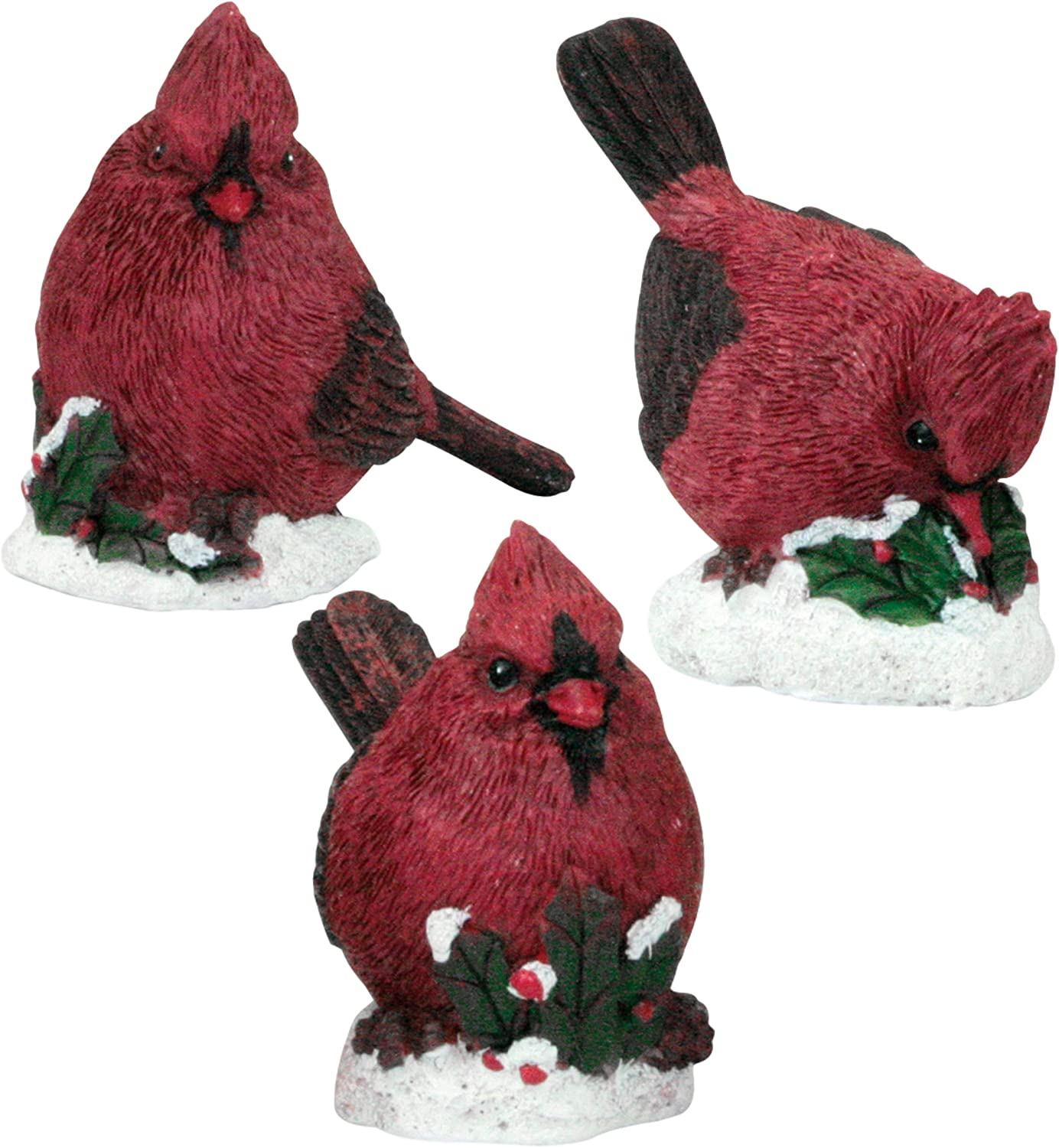 BANBERRY DESIGNS Cardinal Statues and Figurines - Set of 3 Christmas Style Cardinals with Red Berries, Holly and Snow Detail - Realistic Hand Carved Birds Holiday Decor - Assorted 3 to 4 Inches Tall